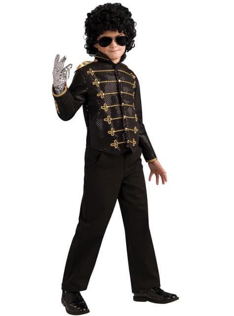 Zwarte jas Michael Jackson militair deluxe voor jongens