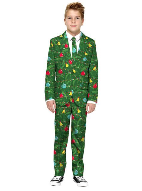 Traje de árboles navideños en verde Opposuits para niño