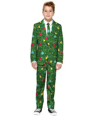 Opposuits oblek vánoční stromeček pro chlapce zelený