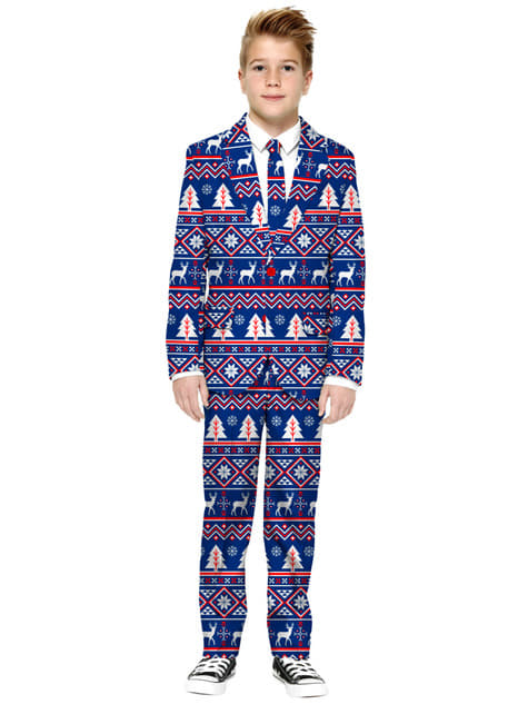 Traje navideño azul Opposuits para niño