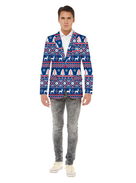 Veste Noël bleue Opposuits homme