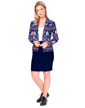 Jachetă femeie Crăciun albastră - Opposuits
