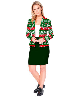 Opposuits julejakke til kvinder i grøn