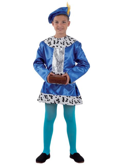 Disfraz de paje Real azul elegante para niño