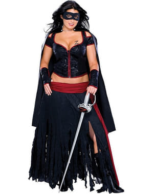 Lady Zorro sexy kostume plus size til kvinder