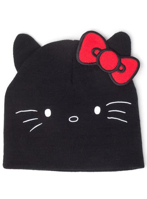 Bonnet Hello Kitty noir avec oreilles femme