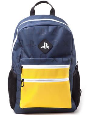 Keltainen reppu PlayStation logolla