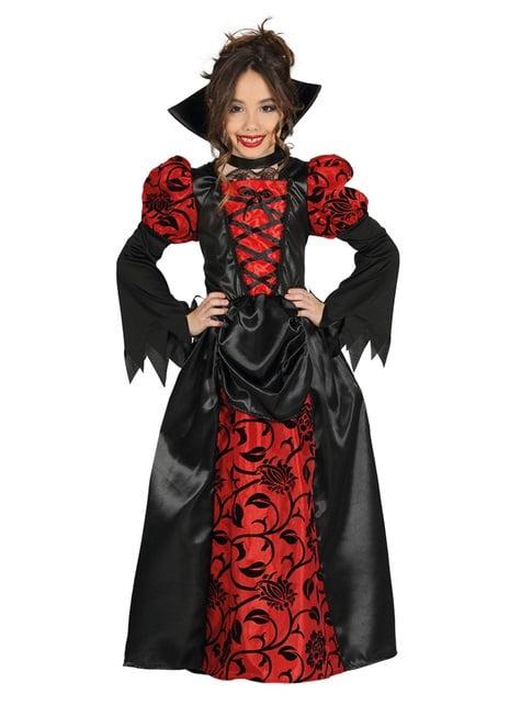 Déguisement vampiresse gothique rouge et noir fille