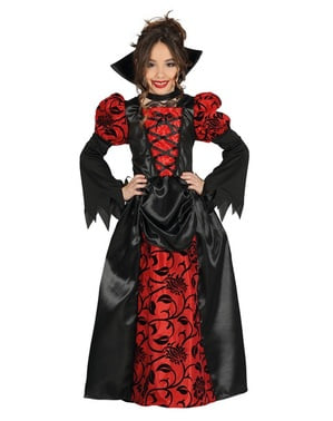 Maskeraddräkt vampyrinna gotisk röd och svart barn