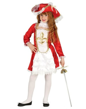 Rød musketer kostyme for jenter