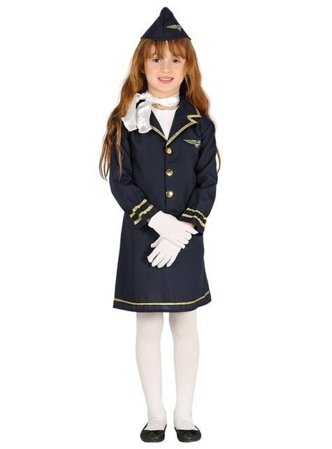 Disfraz de azafata azul para niña