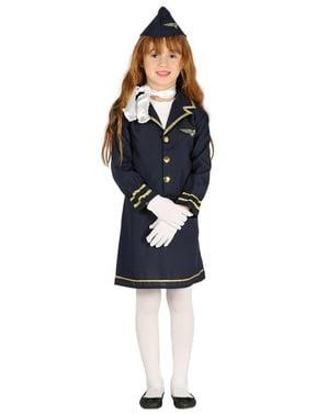Blå flyvertinne kostyme for jenter