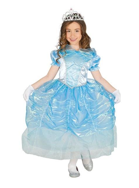 Fato de princesa azul de cristal para menina