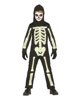 Déguisement squelette brillant dans le noir enfant