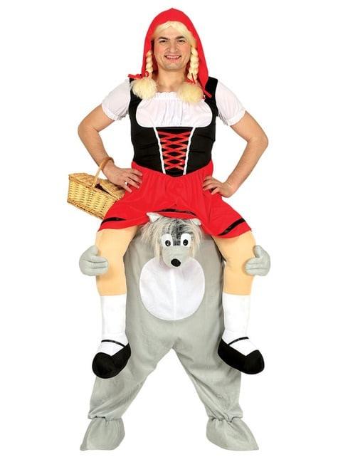 Disfraz de lobo feroz secuestrando a caperucita ride on para adulto