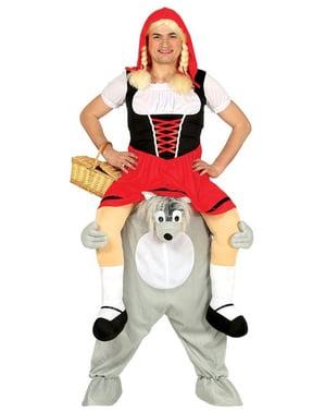 Piggyback Roodkapje en Grote Boze Wolf Kostuum