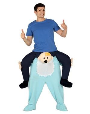 Fato às costas de bebé com pijama azul