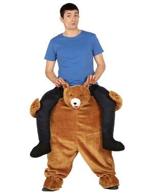 Bruine beren rit op kostuum voor volwassenen