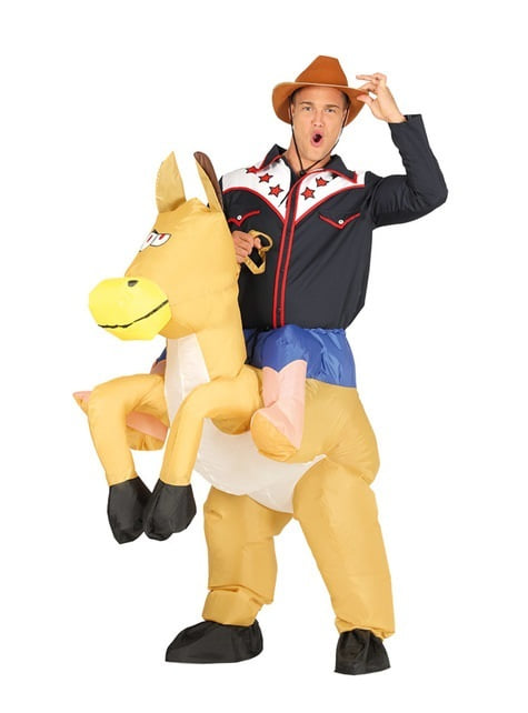Inflatable rodeo cowboy costume for adults