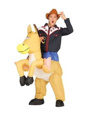 Déguisement gonflable cowboy de rodéo femme