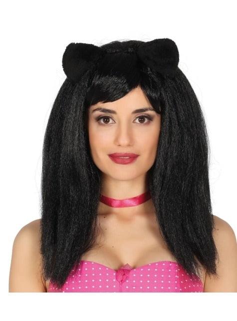 Peluca de gatita con orejas morena lisa para mujer