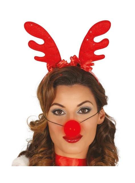 Christmas reindeer headpiece with light-up nose