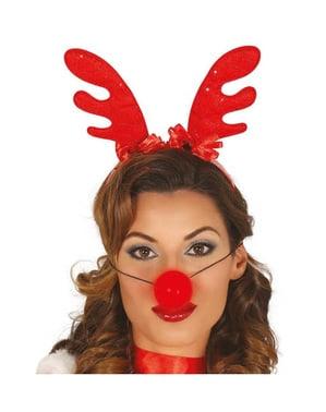 Diadema de reno navideño con nariz luminosa