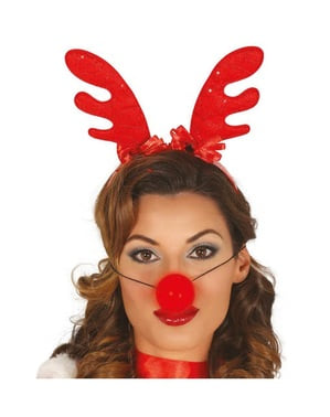 Jule rensdyr hårbånd med lysende næse