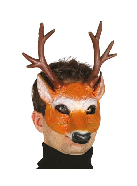 Deer with horns foam half mask for adults