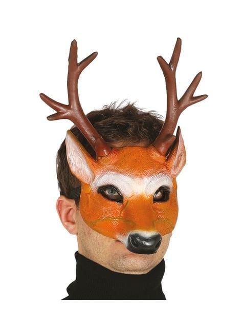 Demi masque cerf avec cornes en foam adulte