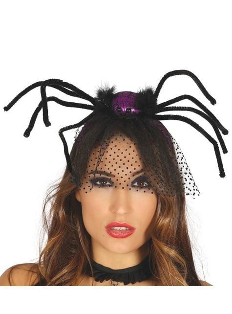 Diadema de araña morada con velo