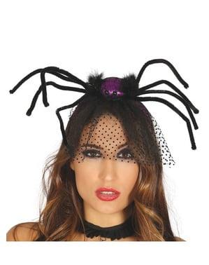 Diadem z fioletowym pająkiem i welonem