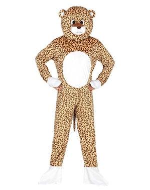 Fato de leopardo com cabeça para adulto