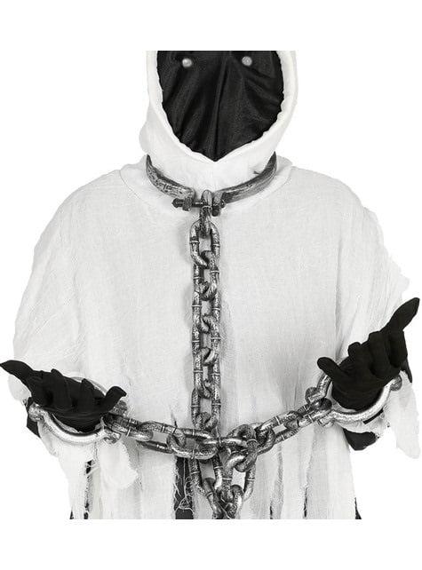 Grilletes de cuello y manos con cadena de 110 cm