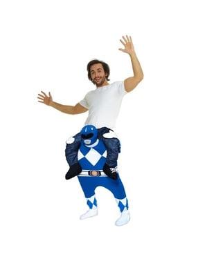 Huckepack Kostüm Power Ranger blau für Erwachsene