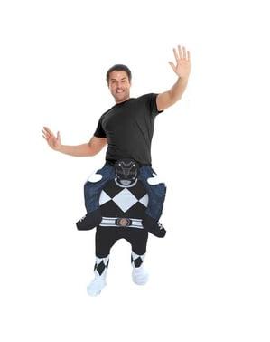Svart Power Ranger Ri-på kostyme for voksne