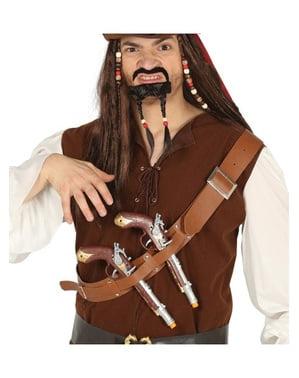 Skärp med pistoler till bröstet med piratpistoler