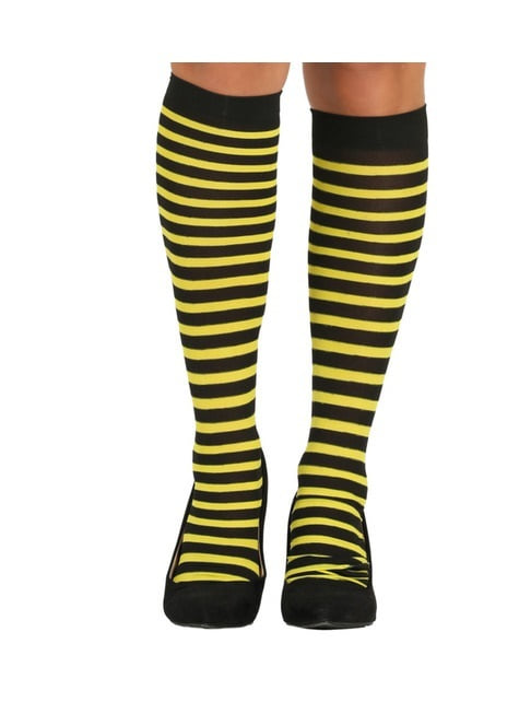 Black and yellow striped bee tights for women