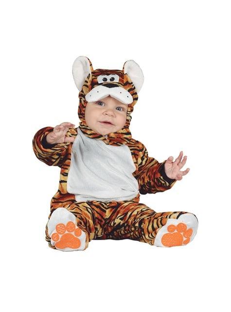 Fato de tigre adorável cor de laranja para bebé