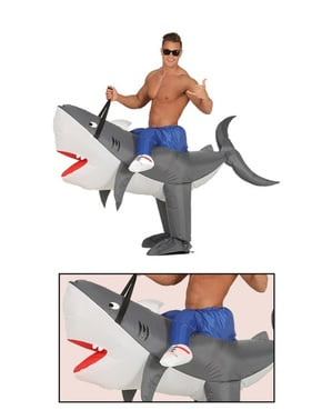 Inflatable tamed shark costume for adults