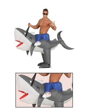 Maskeraddräkt uppblåsbar tämjd haj för vuxen