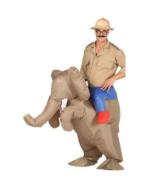 Puhallettava norsulla ratsastaja -asu aikuisille