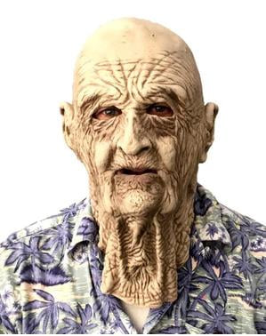 Máscara de látex de anciano arrugado