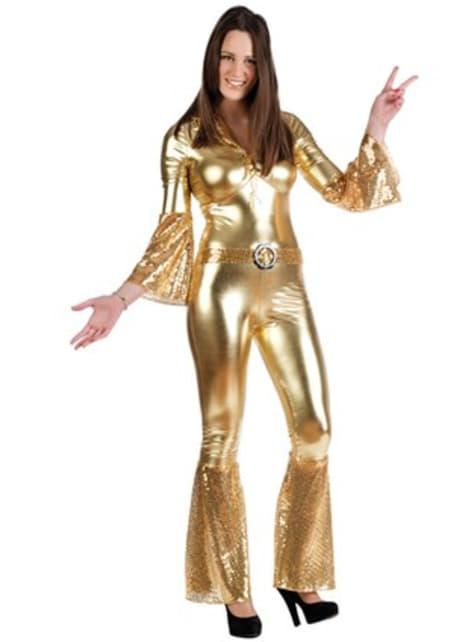 Disfraz de diva disco dorada para mujer