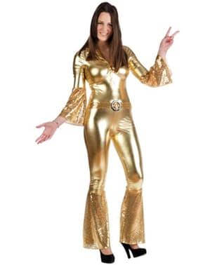 Costume da diva disco dorata da donna