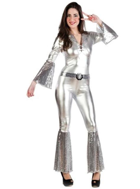 Zilveren disco kostuum voor vrouwen