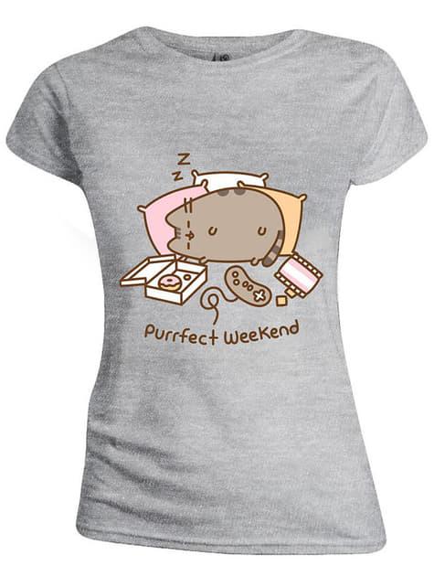 T-shirt de Pusheen cinzenta para mulher
