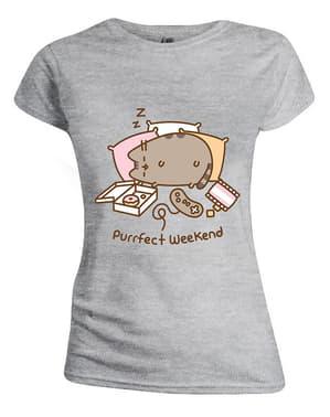 Сива дамска тениска с Пушийн
