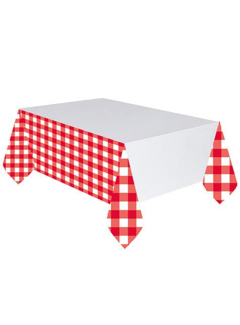 Toalha de mesa de quadrados vermelhos e brancos
