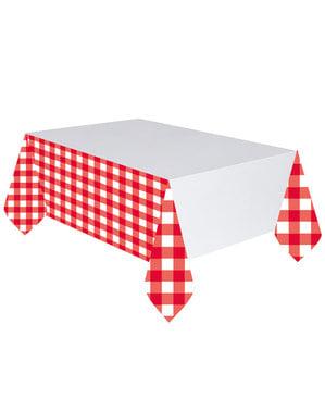 Mantel de cuadros rojos y blancos
